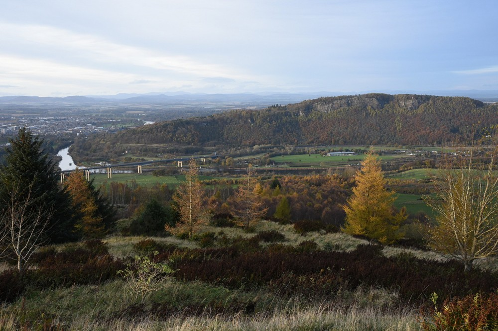 View N towards Kinnoull Hill and Perth from Moncreiffe Hill (in autumn)