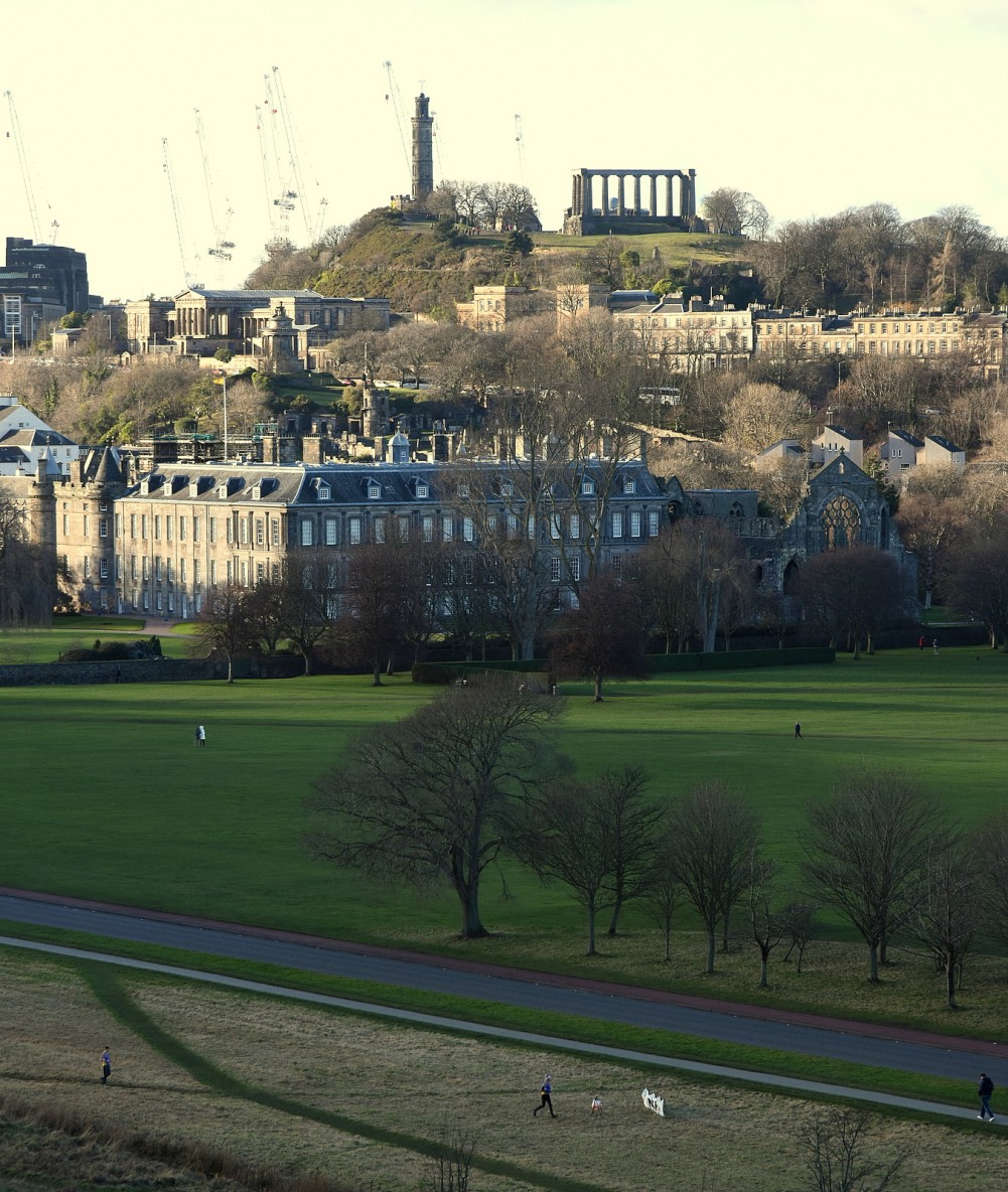 View of Sunday's Finish from St Anthony's Chapel - Calton Hill behind
