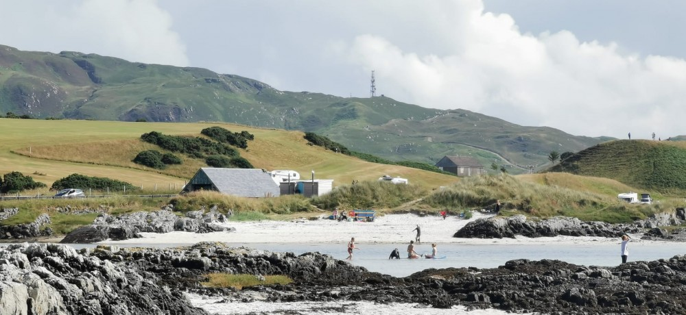 Arisaig beach - Starts were by the mast in the background