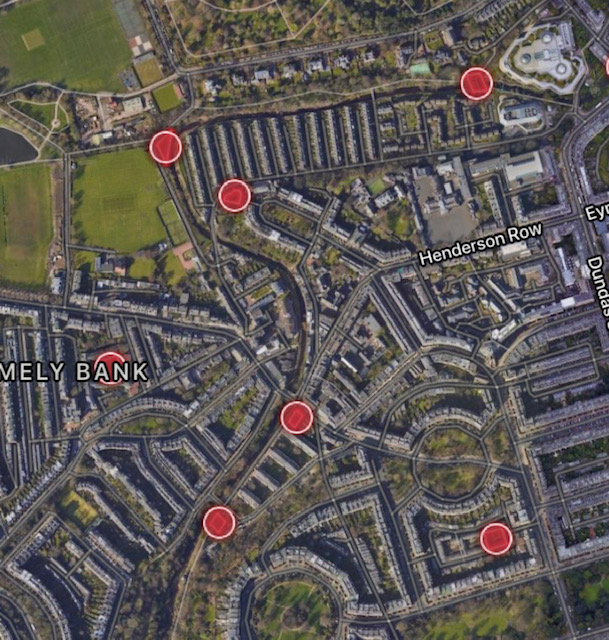 Example of zones in Stockbridge (which are closely guarded by ESOCJanet!)