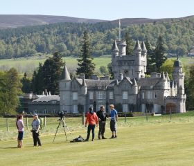 Film crew by Balmoral Castle, Crawford Lindsay
