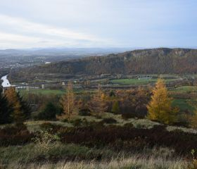 View N towards Kinnoull Hill and Perth from Moncreiffe Hill (in autumn), Crawford Lindsay