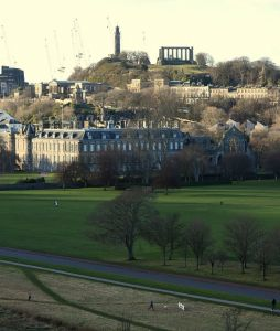 View of Sunday's Finish from St Anthony's Chapel - Calton Hill behind, Crawford Lindsay